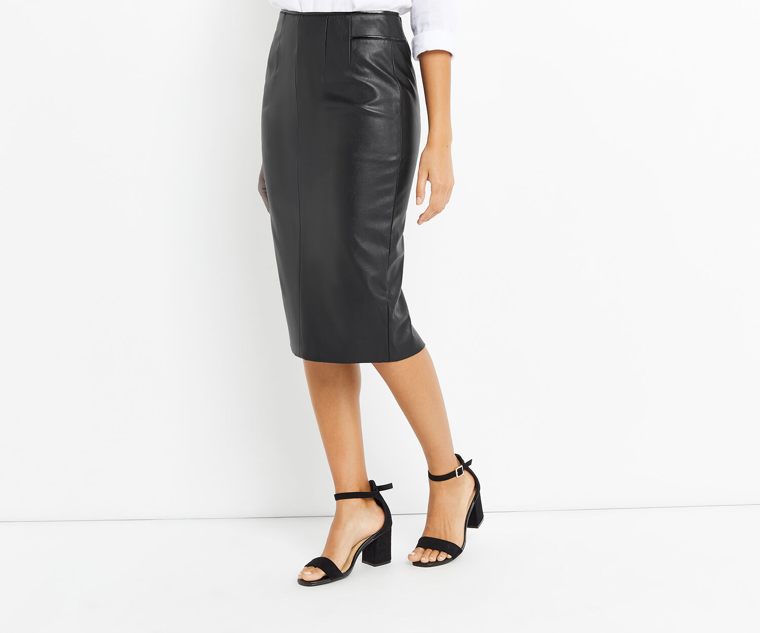 Oasis, FAUX LEATHER PENCIL SKIRT Black 1