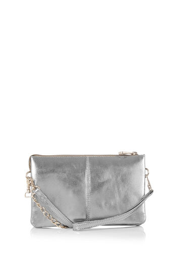 Oasis, SMALL LEATHER CROSS-BODY BAG Silver 0