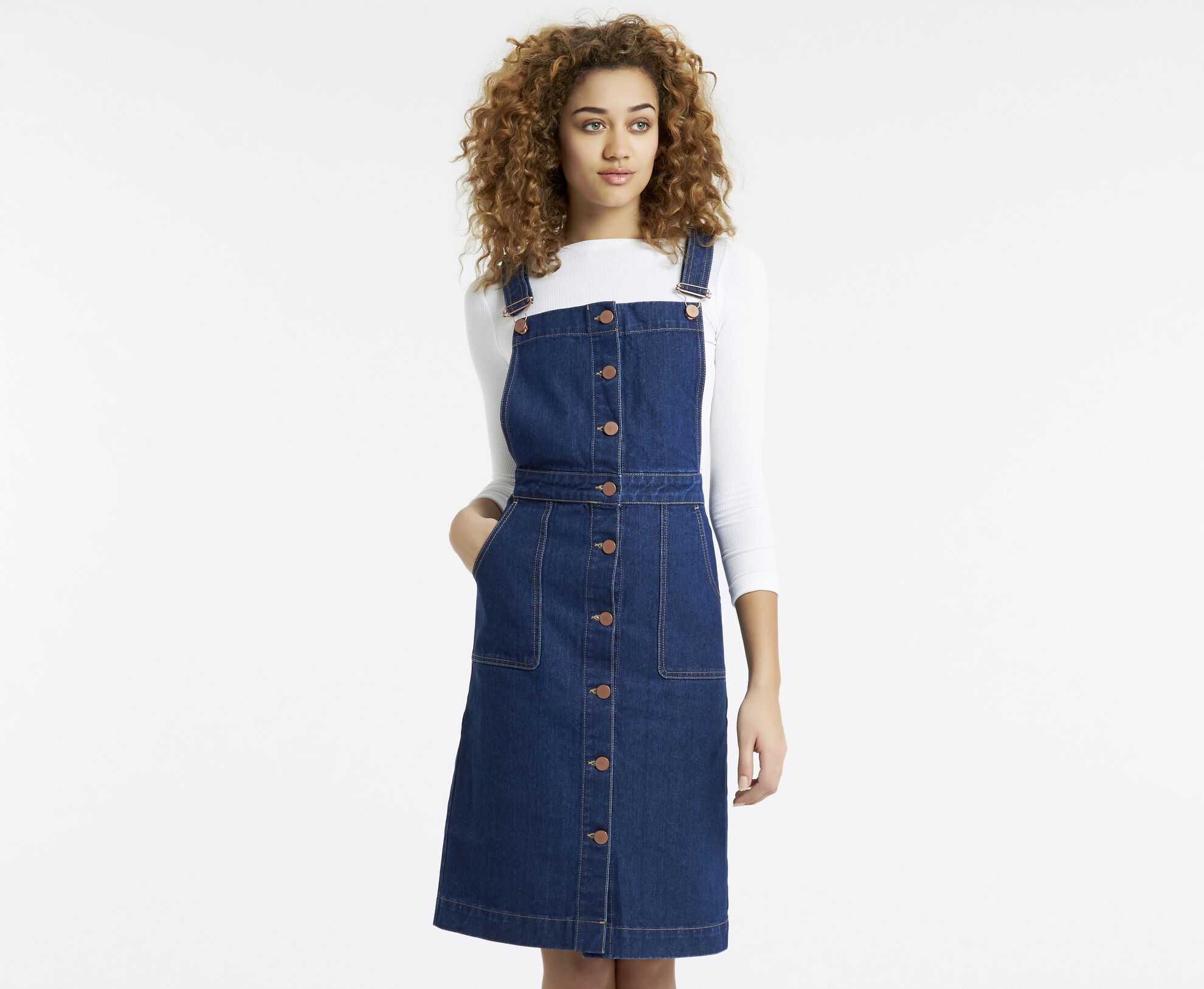 Simple Boohoo Womens India Denim Dungaree Pinafore Dress | EBay