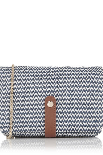 Oasis, Chevron Chain Clutch Bag Multi Blue 0