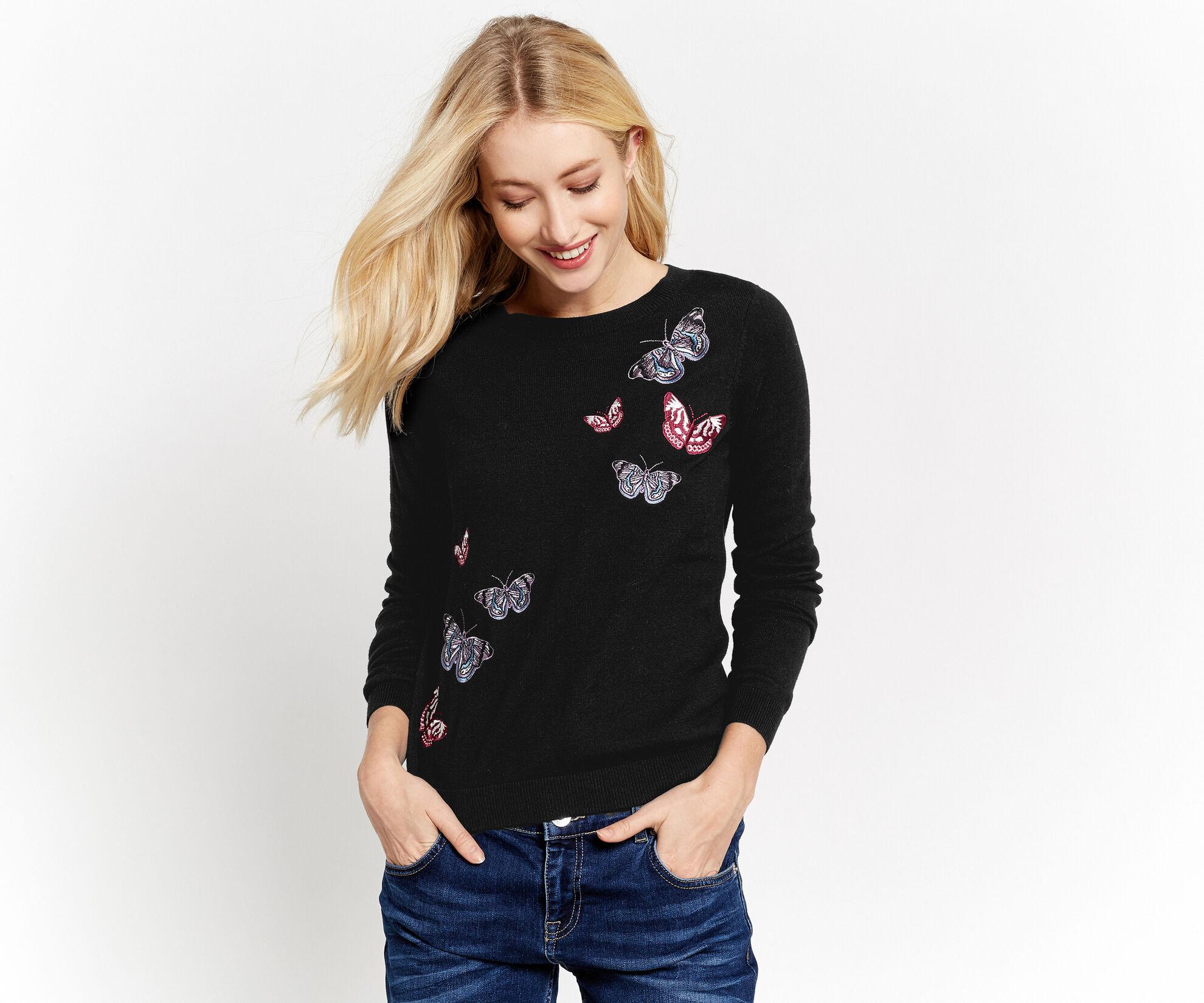 Oasis, Forest Embroidered Jumper Black 1