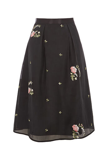 Oasis, EMBROIDERED SKIRT Pale Pink 0