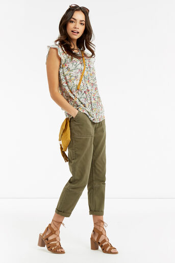 Oasis, Ditsy Frill Top Multi Grey 2