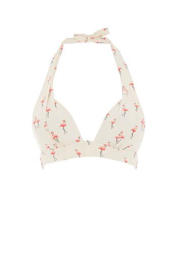 Oasis, Flamingo print bikini top Bright Pink 0
