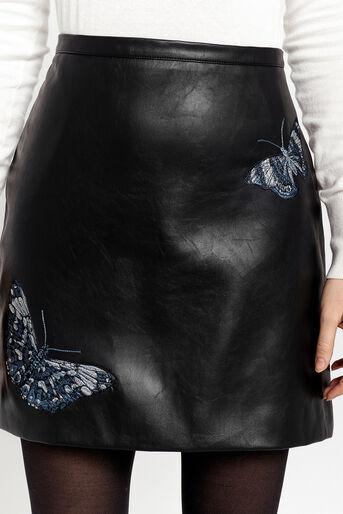 Oasis, Mini-jupe en similicuir forêt enchantée Noir 4