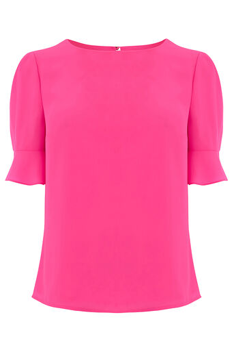 Oasis, FLUTED SLEEVE TEE Bright Pink 0