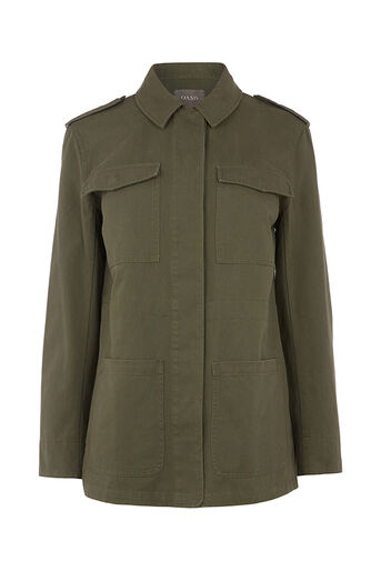 Oasis, KATE MILITARY JACKET Khaki 0