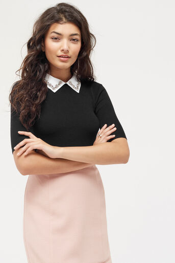 Oasis, Embellished rib collar knit Black 1