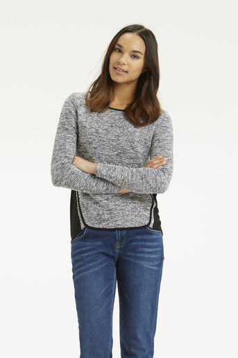 Oasis, Tweed Patched Sweater Black 1