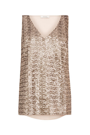 Oasis, SEQUIN HIGH BACK VEST Gold 0