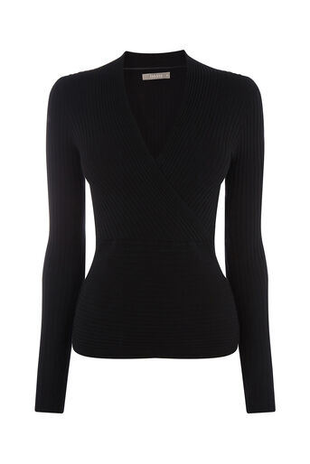 Oasis, RIB WRAP TOP Black 0