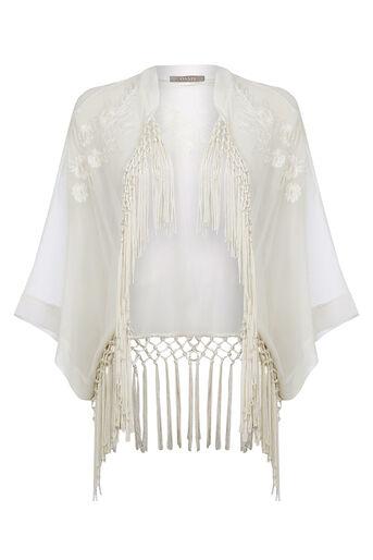 Oasis, Skyla Embroidered Kimono White 0