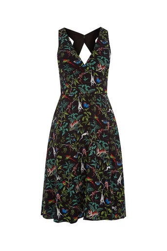Oasis, ZSL INDIANA DRESS LONG Multi Black 0
