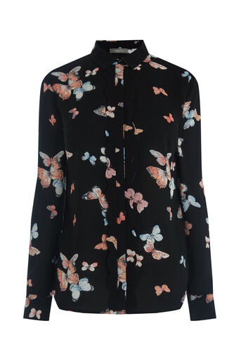 Oasis, BUTTERFLY SCALLOP SHIRT Multi Black 0