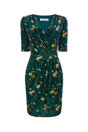 Oasis, ROSSETTI VELVET WRAP DRESS Deep Green 0