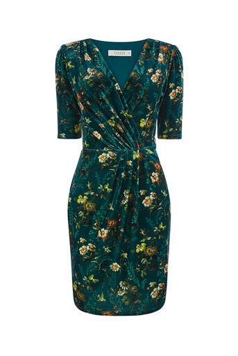 Oasis, Wickelkleid aus Samt mit Rossetti-Print Dunkelgrün 0