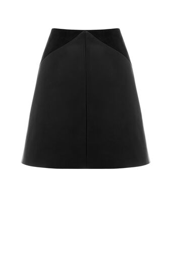Oasis, PATCHED FAUX LEATHER SKIRT Black 0