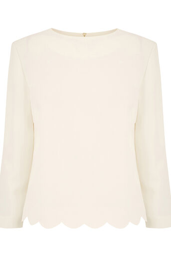 Oasis, SCALLOP 3/4 SLEEVE TOP Off White 0