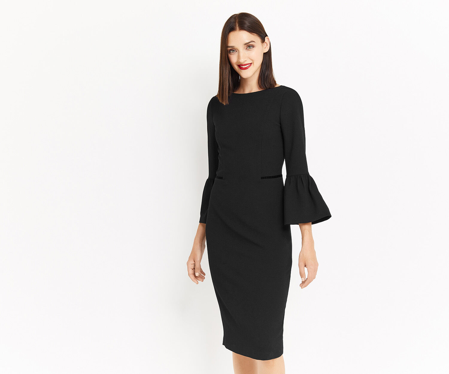 Oasis, BELL SLEEVE DRESS Black 1