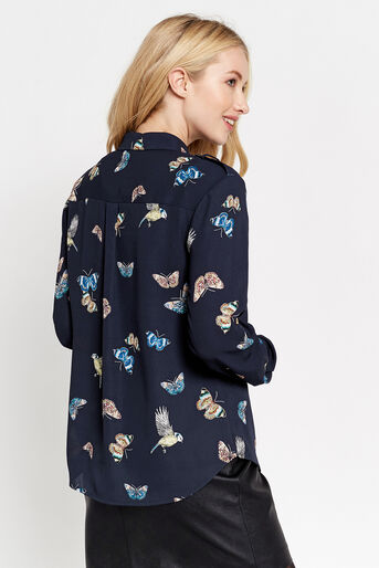 Oasis, BUTTERFLY & BIRD UTILITY SHIRT Multi Blue 3