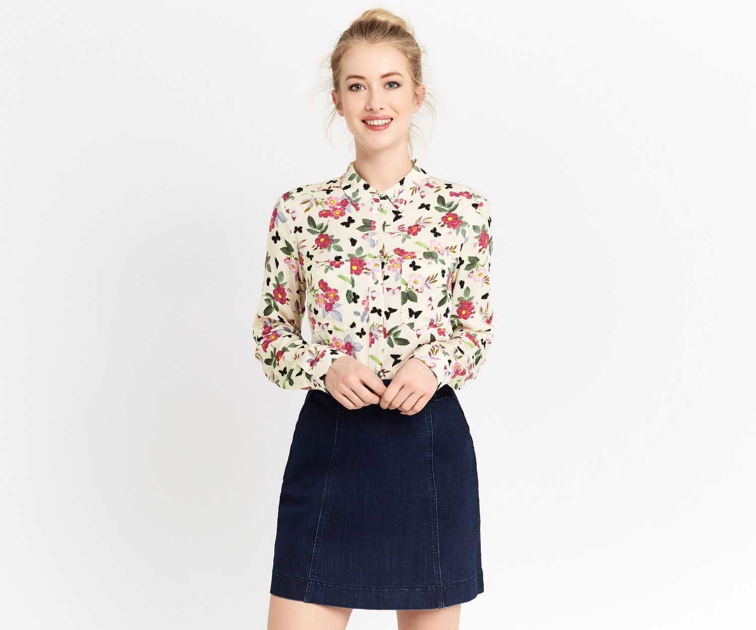 Oasis, FLORAL-FILLED SHIRT Multi Natural 1