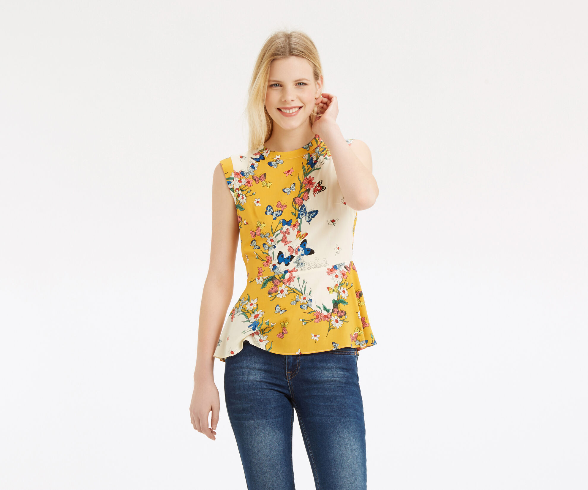 Oasis, Placement Butterfly Peplum Top Multi 1