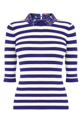 Oasis, Stripe and printed collar knit Multi Blue 0