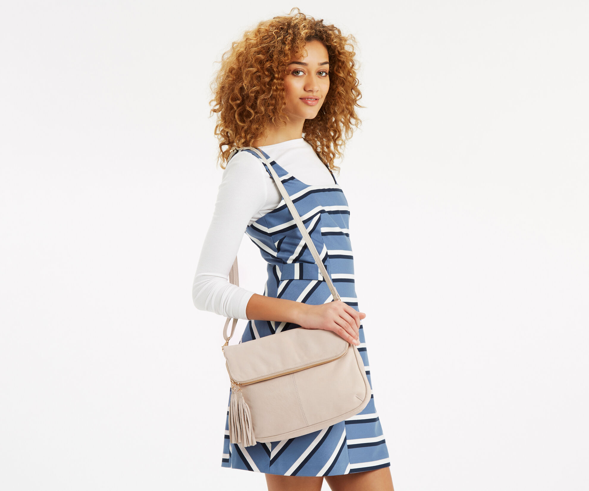 Oasis, Suede Cross-Body Bag Off White 1