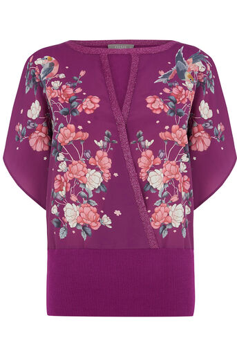 Oasis, KIMONO PLACEMENT WRAP TOP Multi Purple 0