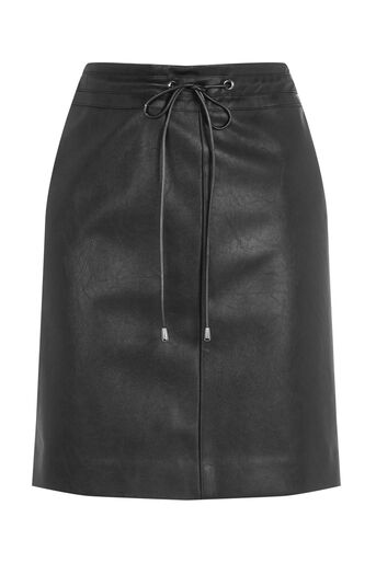 Oasis, FAUX LEATHER DRAWSTRING SKIRT Black 0