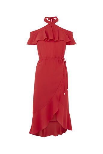 Oasis, PLAIN HALTER BARDOT DRESS Rich Red 0