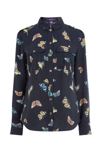Oasis, BUTTERFLY & BIRD UTILITY SHIRT Multi Blue 0
