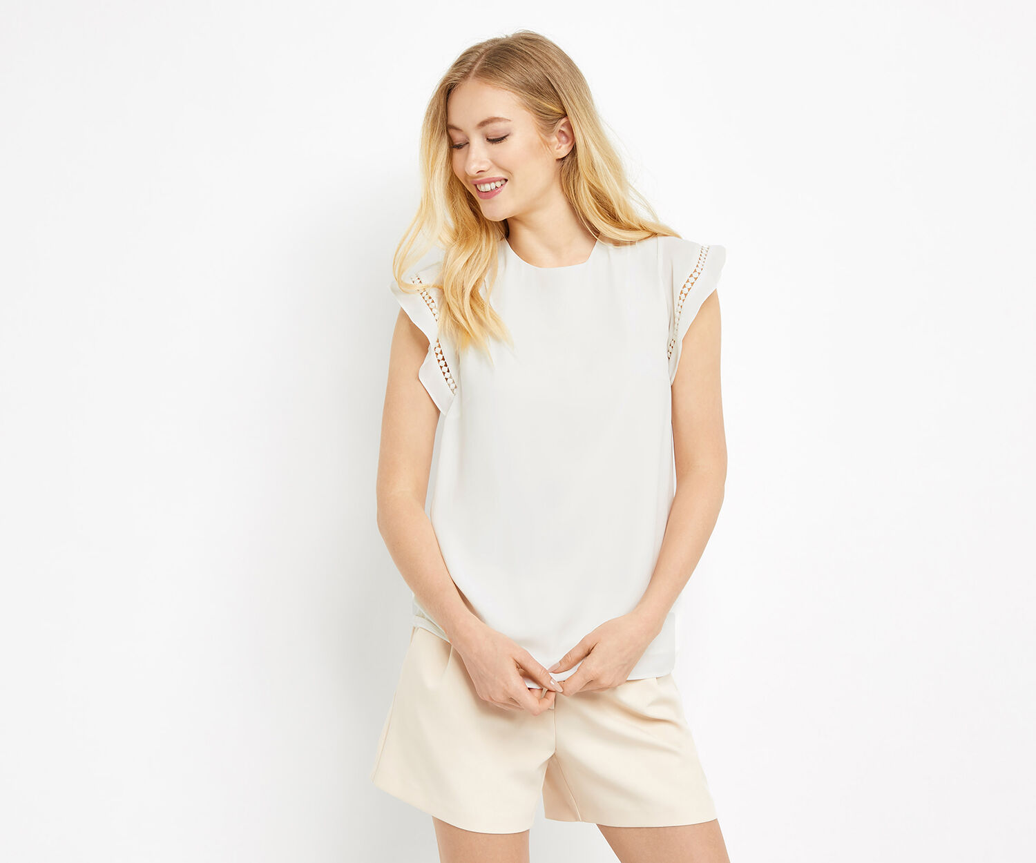 Oasis, FRILL SLEEVE TOP Off White 1