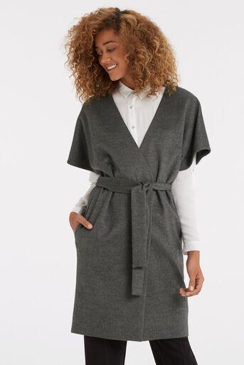 Oasis, Lexi Short Sleeved Coat Mid Grey 1