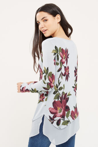 Oasis, Painted rose asymmetric knit Mid Grey 3