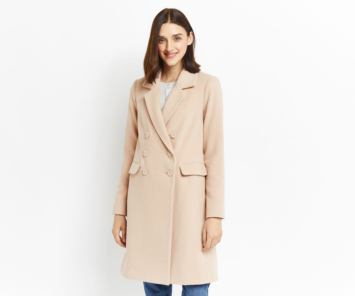 Oasis, CLARA DOUBLE BREASTED CAR COAT Mid Neutral 1