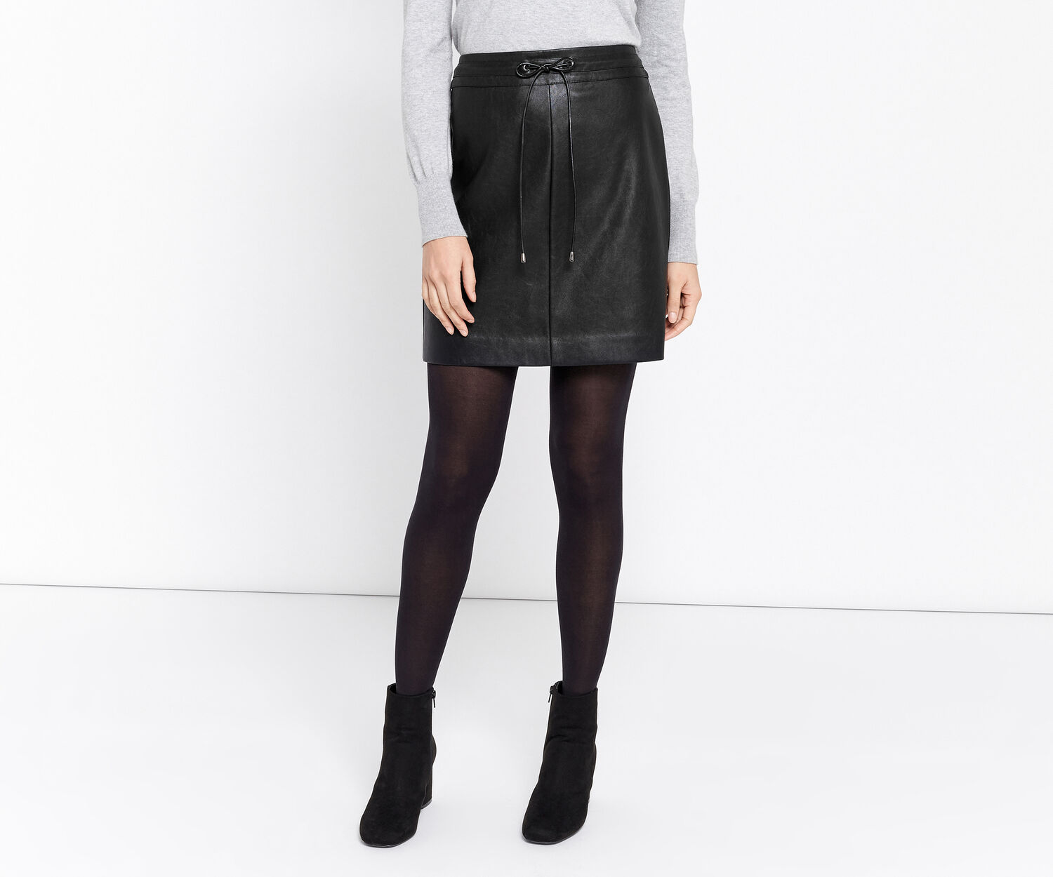 Oasis, FAUX LEATHER DRAWSTRING SKIRT Black 1