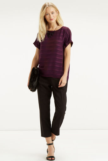 Oasis, Self Stripe Roll Sleeve T-Shir Mid Purple 2
