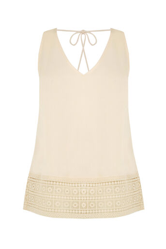 Oasis, Tassle Lace Trim Shell Top Off White 0