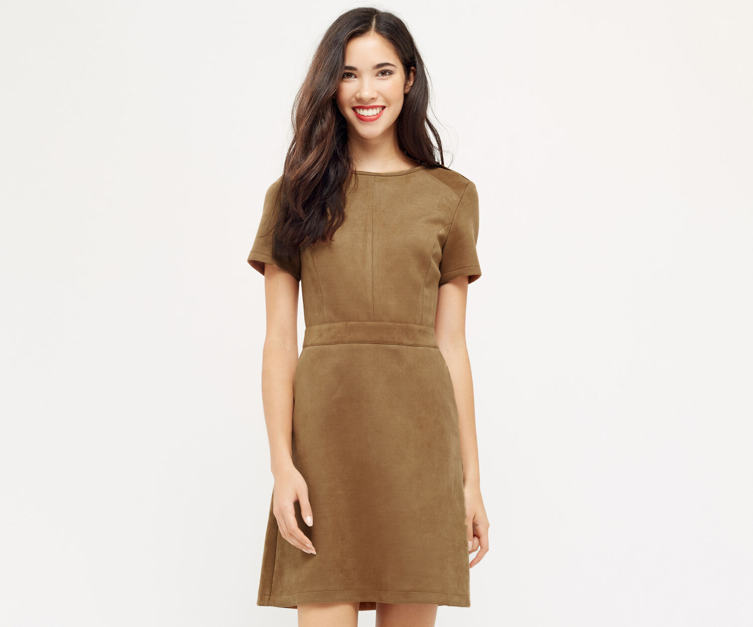 Oasis, SUEDETTE SHIFT DRESS Tan 1