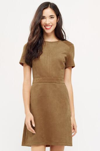 Oasis, SUEDETTE SHIFT DRESS Tan 1