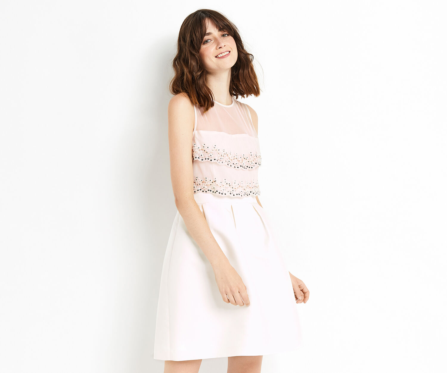 Oasis, EMBROIDERED BODICE SKATER Off White 1
