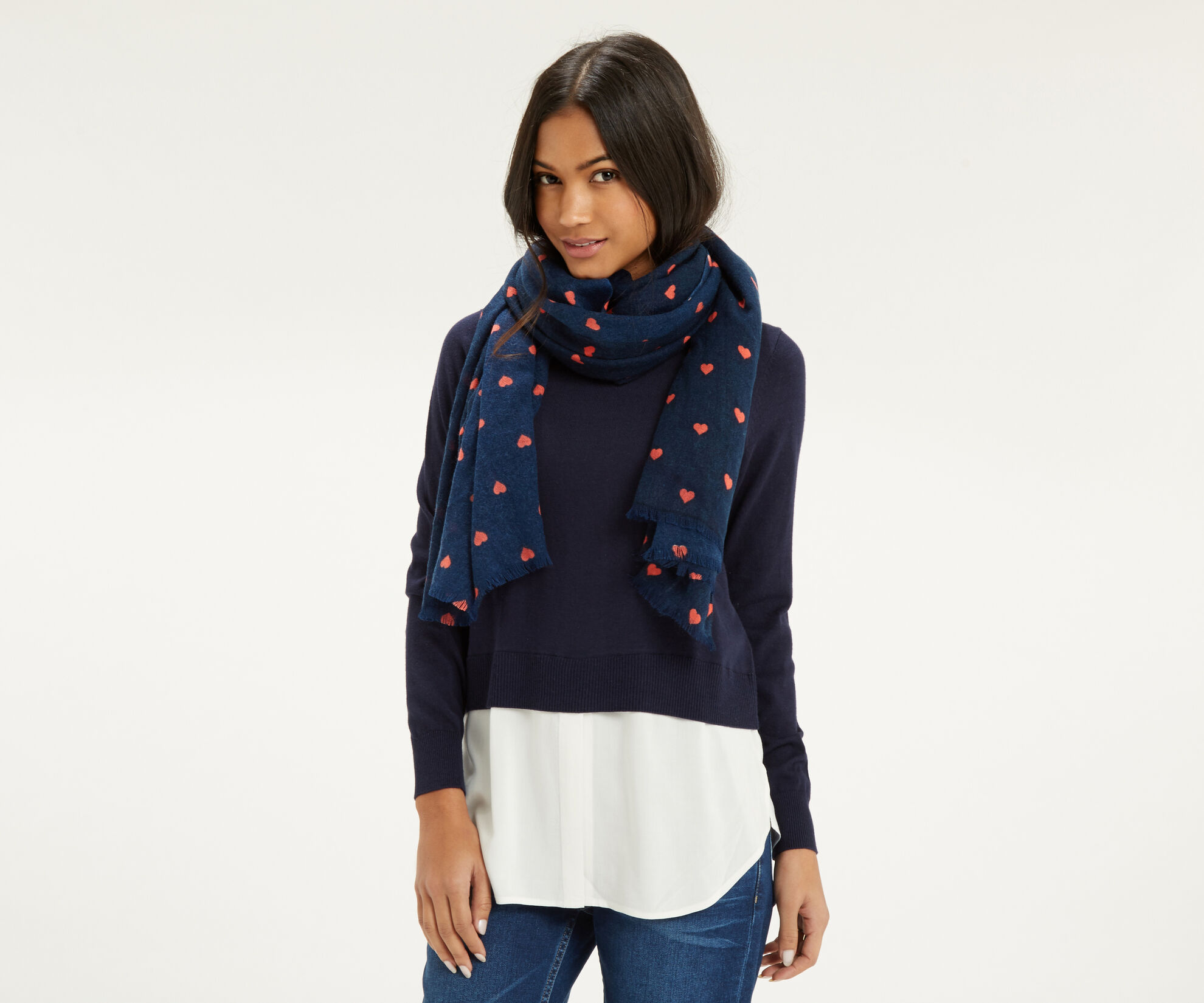 Oasis, Coral Heart Scarf Navy 1