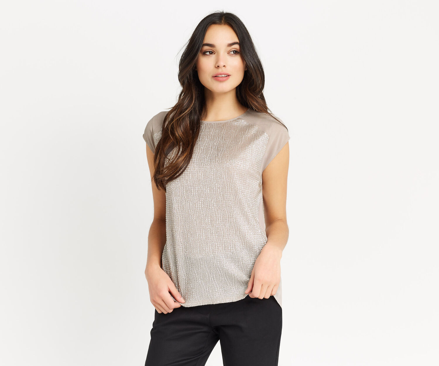 Oasis, CRINKLE PEPLUM BACK TOP Pale Grey 1