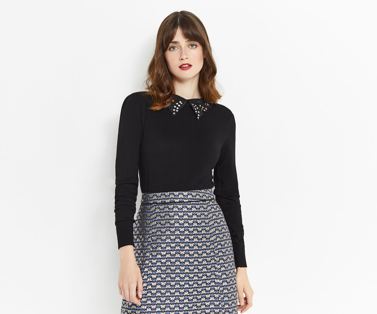 Oasis, BUTTERFLY COLLAR KNIT Black 1