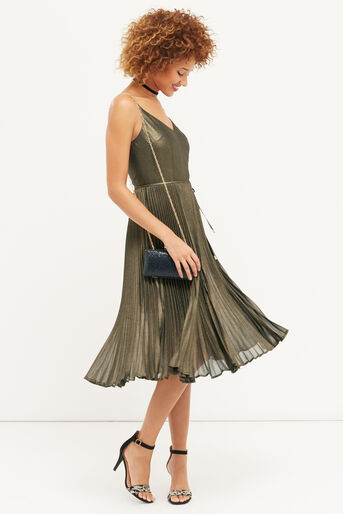 Oasis, Robe mi-longue plissée scintillante Doré 2