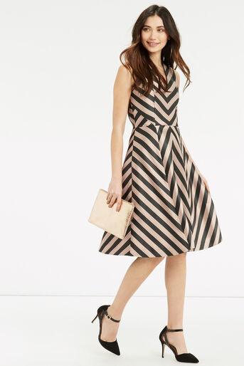 Oasis, Stripe Dress - Longer Length Multi Black 2