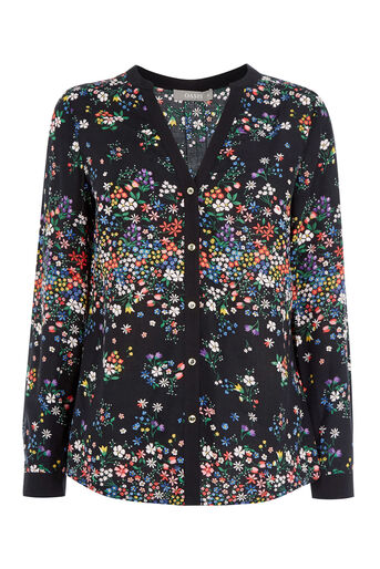 Oasis, DITSY PLACEMENT SHIRT Multi Black 0
