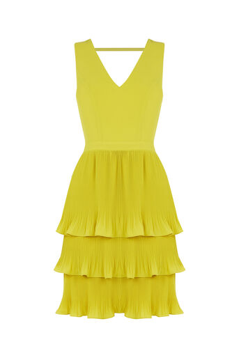 Oasis, V Neck Pleated Tiered Dress Bright Yellow 0