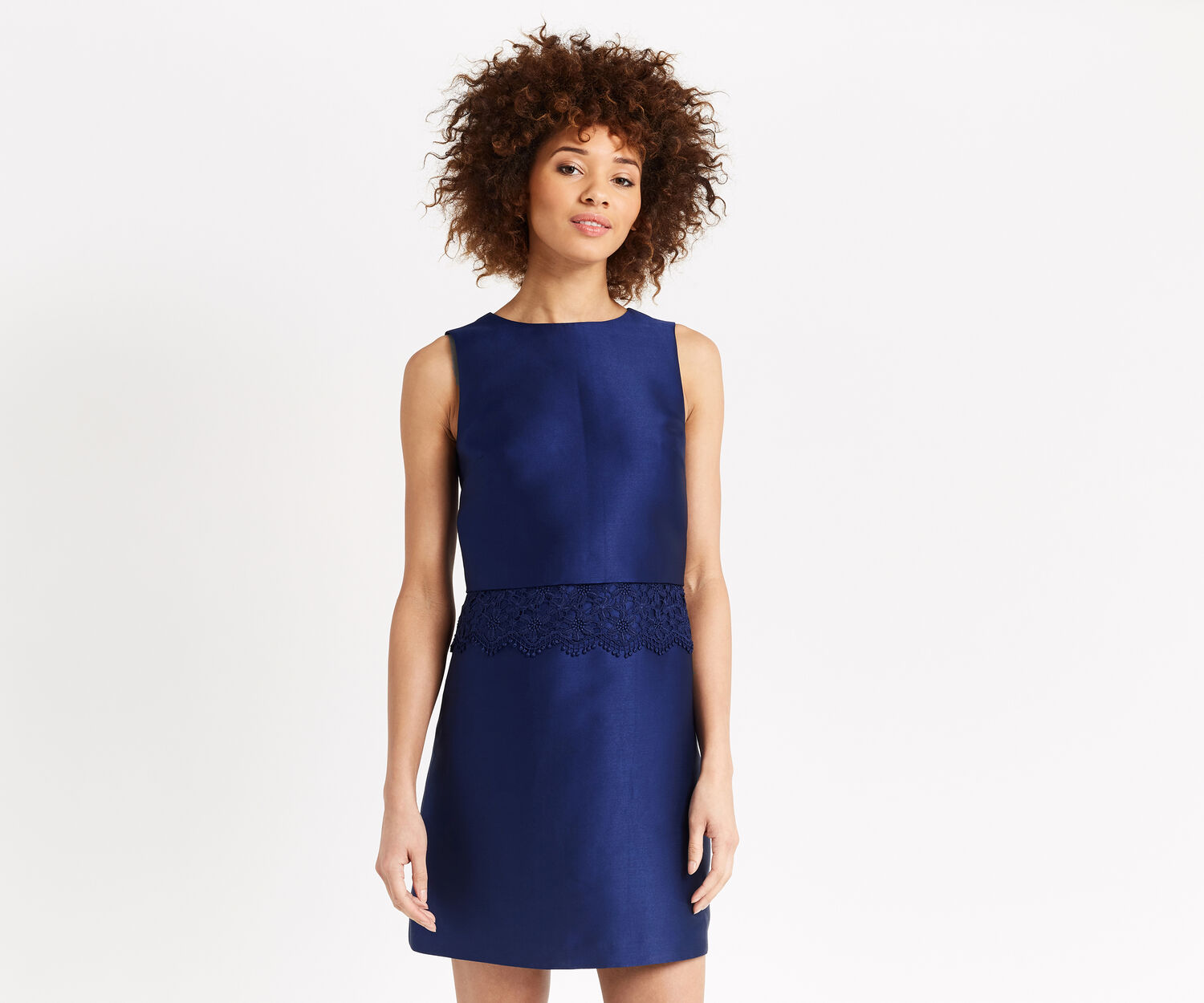 Oasis, LACE TRIM 2 IN 1 SHIFT DRESS Navy 1